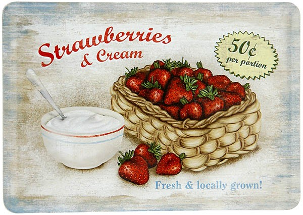 Metal Postcard Blechpostkarte ´Strawberries & Cream´