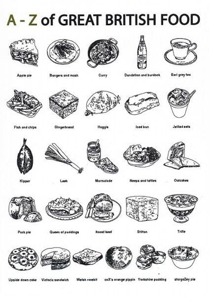 A-Z of Great British Food Grußkarte von Edith & Bob