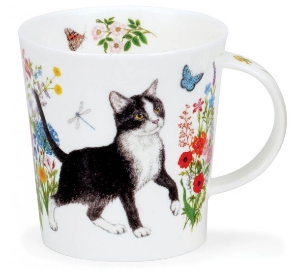 Dunoon Lomond Floral Cats Black & White by Charlotte Galloux
