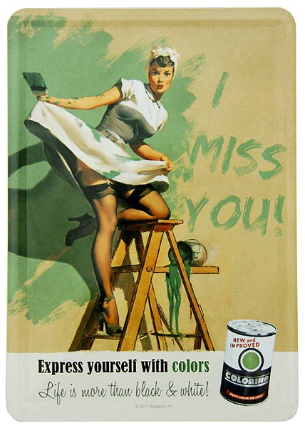 Metal Postcard Blechpostkarte ´I Miss You´ Colours