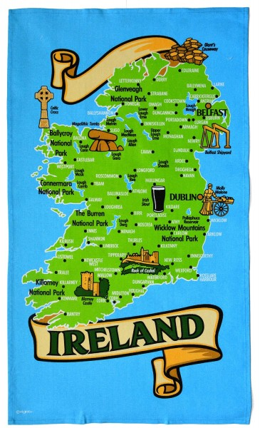 Ireland Map Tea Towel 50cm x 80cm