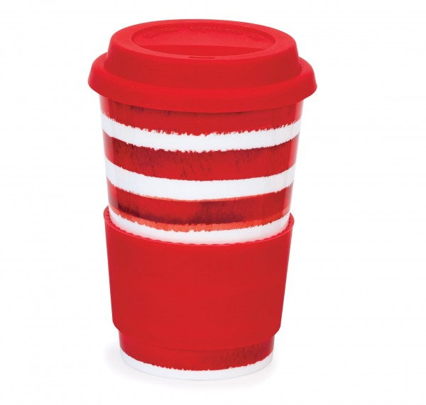 Dunoon Travel Mug Hoopla! Red by Caroline Bessey