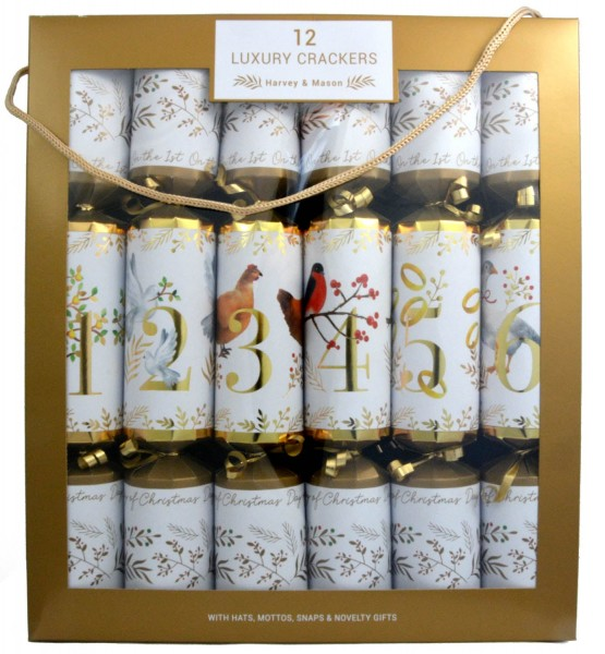 Harvey & Mason 12 Luxury Crackers 12 Days of Christmas