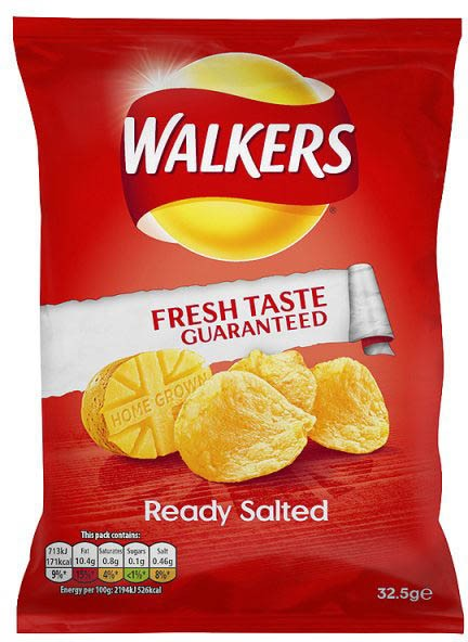 Walkers Ready Salted, Karton 32 x 32,5g