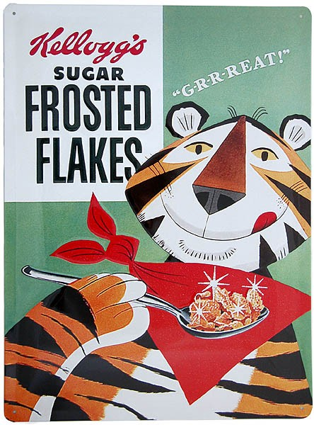 Metal Sign ´Kellogg´s Sugar Frosted Flakes´ with Tiger Tony