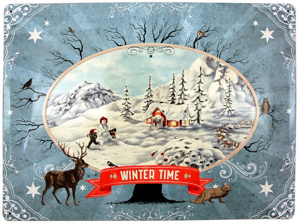 Metal Sign ´Winter Time´ 40 x 30cm