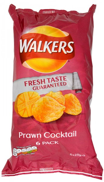 Walkers Prawn Cocktail, 6 x 25g Pack