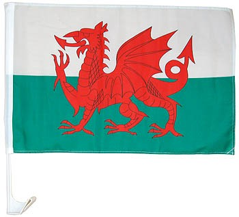 Welsh Dragon Car Flag Autofahne Wales