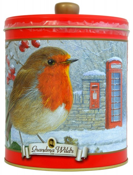Grandma Wilds Robin with Telephone & Post Box Biscuit Tin 300g