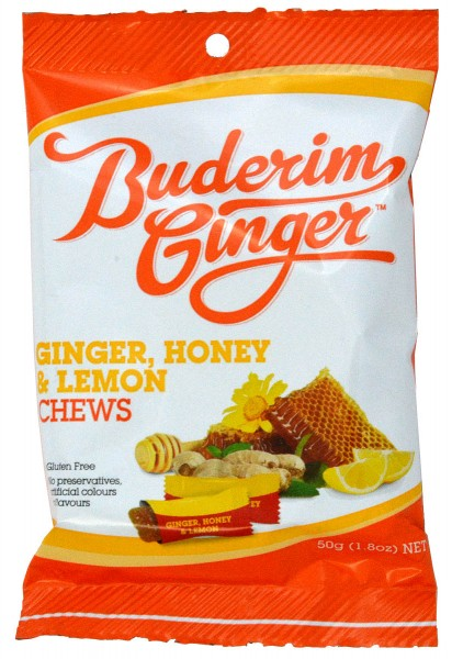 Buderim Ginger, Honey & Lemon Chews 50g