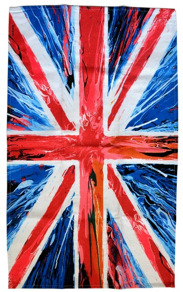 Union Jack Spin Painting Tea Towel 50 x 80 cm Geschirrtuch
