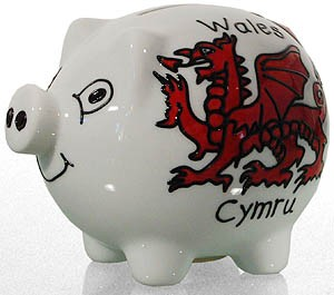 Wales Dragon Hand Painted Ceramic Piggy Bank