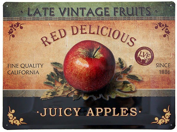 Metal Sign ´Red Delicious Juicy Apples´