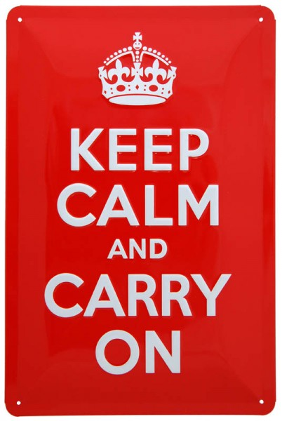 Blechschild ´Keep Calm and Carry On´ 20 x 30 cm