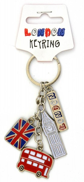 London Charm Keyring with Big Ben and Bus Schlüsselanhänger