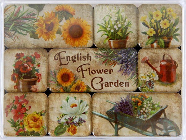 Magnet-Set 9tlg. ´English Flower Garden´