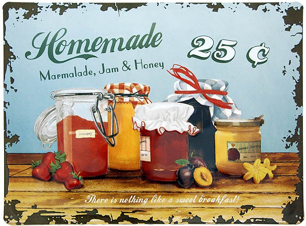 Metal Sign ´Homemade Marmalade, Jam & Honey´