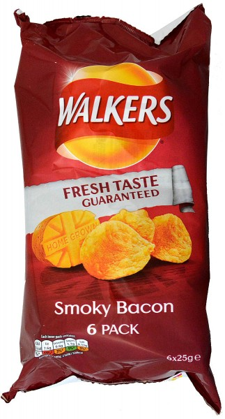 Walkers Smoky Bacon, 6 x 25g Pack