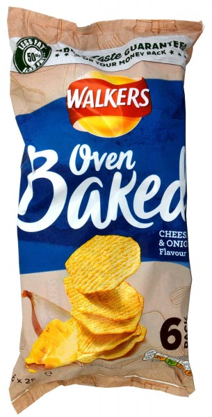 Walkers Oven Baked Cheese & Onion 6 x 25g