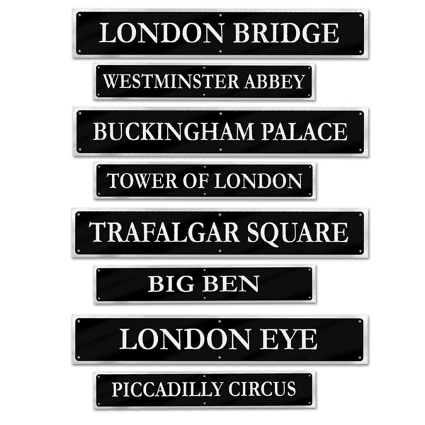 British Street Sign Cutouts, 4 doppelseitige
