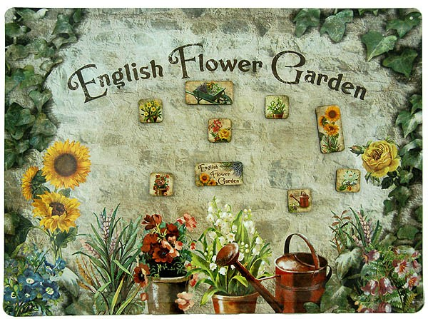 Metal Magnet Board ´English Flower Garden´