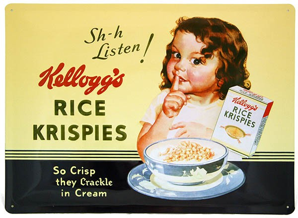 Metal Sign ´Sh-h Listen! Kellogg´s Rice Krispies´